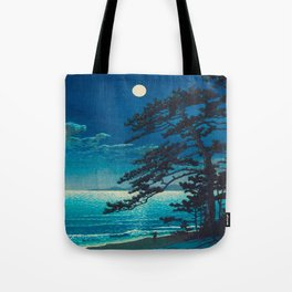 Vintage Japanese Woodblock Print Moonlight Over Ocean Japanese Landscape Tall Tree Silhouette Tote Bag