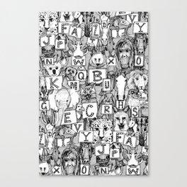 animal ABC black white Canvas Print