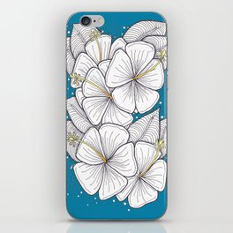 Zentangle Blue and Gold Hibiscus Blossoms for Flower Lovers iPhone Skin