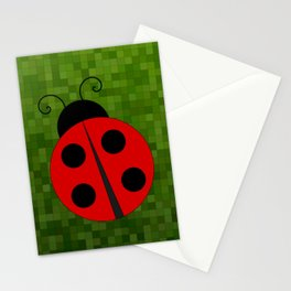 Lady Bug On Green Stationery Cards