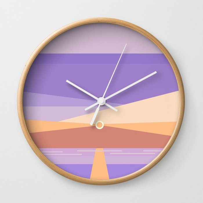 Sunset on the beach at 7:11 pm Wall Clock