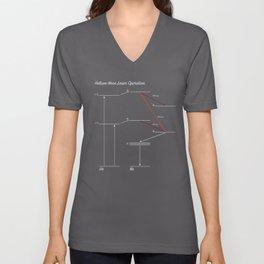 Helium Neon (HeNe) Laser (White Line Art) Unisex V-Neck