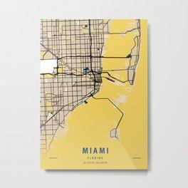 Miami Yellow City Map Metal Print