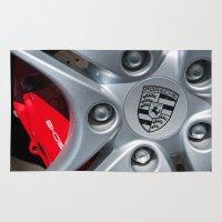 porsche Area & Throw Rugs featuring Porsche Wheel by SShaw Photographic