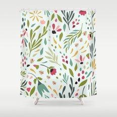 cute colorful botanical flowers u0026 leafs pattern shower curtain
