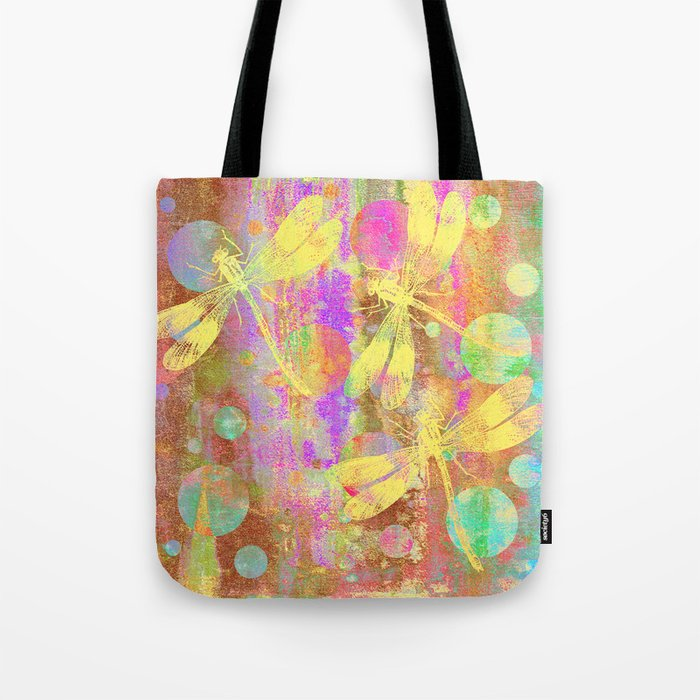 A Dragonflies and Dots Tote Bag