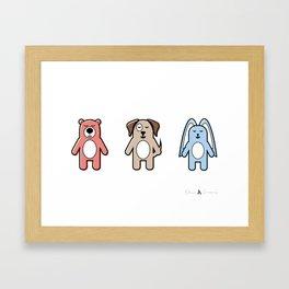 Happy little animals Framed Art Print