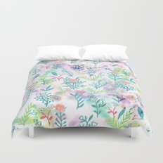 Hand drawn coral pink green watercolor floral Duvet Cover