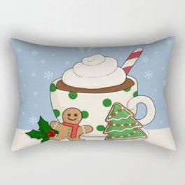 Hot Chocolate and  Gingerbread Cookies - Christmas Rectangular Pillow