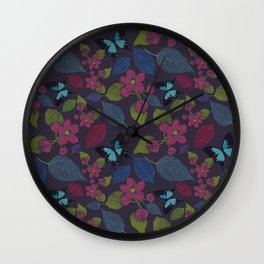 seamless  pattern with flowers and butterfly. Wall Clock
