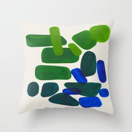 Minimalist Modern Mid Century Colorful Abstract Shapes Phthalo Blue Lime Green Gradient Overlapping Throw Pillow