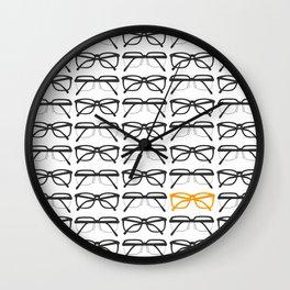 Optometrist Black and Orange Frames Pattern Print Wall Clock
