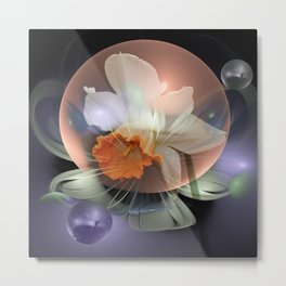 Daffodil in a fantasy droplet Metal Print