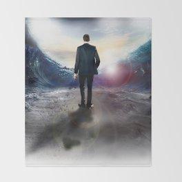 Man cross the sea Throw Blanket