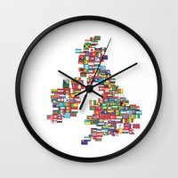 uk Wall Clocks featuring UK by John Choi King