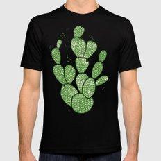 Linocut Cacti #1 MEDIUM Black Mens Fitted Tee
