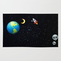 emoji Area & Throw Rugs featuring Space Emoji by jajoão