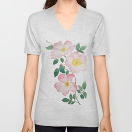 pink rosa rubiginosa watercolor Unisex V-Neck