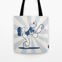popeye Tote Bags featuring the Sailor with Dragon Tatoo by Zachary Huang