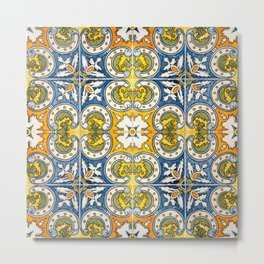 Seamless Floral Pattern Ornamental Tile Design : 8 Metal Print