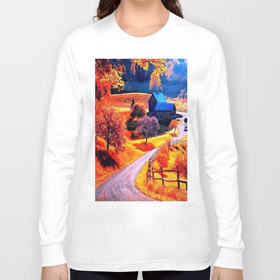 Farmhouse In Autumn Long Sleeve T-shirt