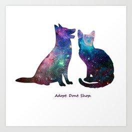 Galaxy Pet Love Art Print