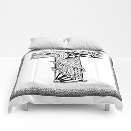 Zentangle T Monogram Alphabet Illustration Comforters