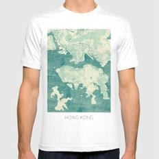 Hong Kong Map Blue Vintage MEDIUM White Mens Fitted Tee