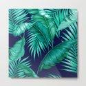 HAWAIIAN GARDEN TROPICAL LEAVES | turquoise navy by cheryldaniels
