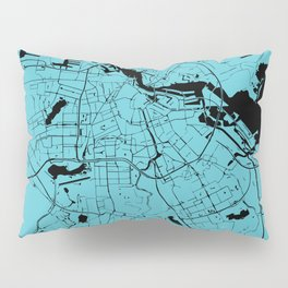 Amsterdam Turquoise on Black Street Map Pillow Sham