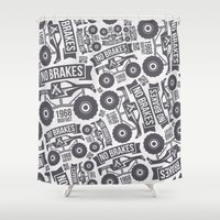 bigfoot Shower Curtains featuring Pattern with the image of bigfoot car by Fedor Novykh