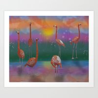 Flamingo Sunset Art Print