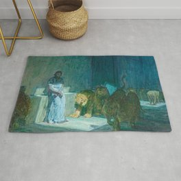 African American Masterpiece 'Daniel in the Lion's Den' by Henry Ossawa Tanner Rug