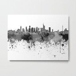 Frankfurt skyline in black watercolor Metal Print