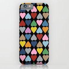 Diamond Hearts on Black iPhone 6s Slim Case