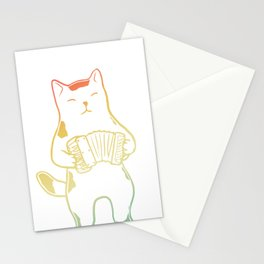 Cat that Play Accordion Stationery Cards