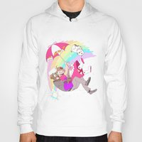 puppycat Hoodies featuring Puppycat Rainbow Fall by Beta PV