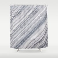 geology Shower Curtains featuring Grey Marble by Santo Sagese