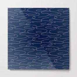 Japanese Sashiko Embroidery Stitches Pattern Metal Print