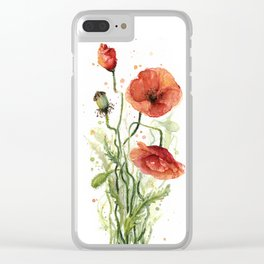Red Poppies Watercolor Clear iPhone Case