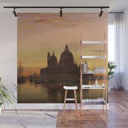 Venice Sunset at Santa Maria della Salute by Edwin William Cooke Wall Mural