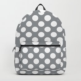 White Polka Dots with Grey Background Backpack