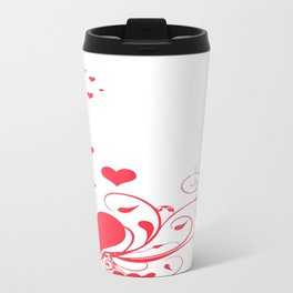 Red Valentine Hearts on A White Background Travel Mug
