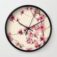sakura Wall Clocks featuring Sakura by Laura Ruth