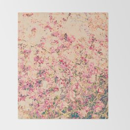 Vintage Pink Crabapple Tree Blossoms in the Sun Throw Blanket