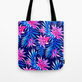 Aechmea Fasciata - Mid Blue/Pink Tote Bag