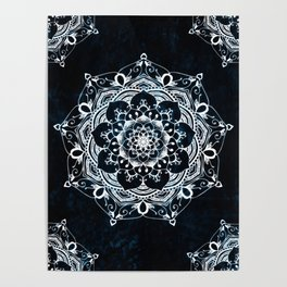 Glowing Spirit Mandala Blue White Poster