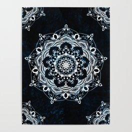Glowing Spirit Mandala Blue White Poster