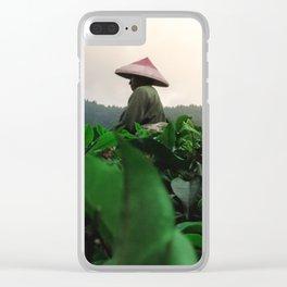 Indonesian Tea fields worker 2 Clear iPhone Case