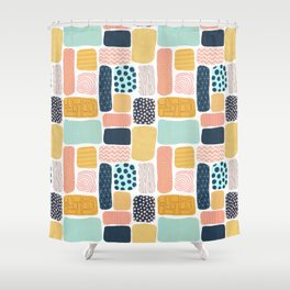 Abstract doodle shapes pattern Shower Curtain